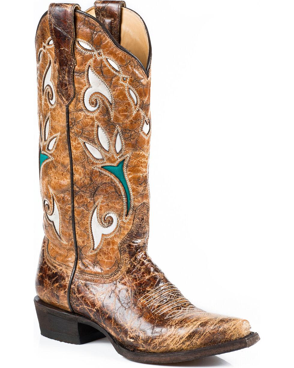 Stetson Women's Vintage Tulip Underlay Western Boots, Brown, hi-res