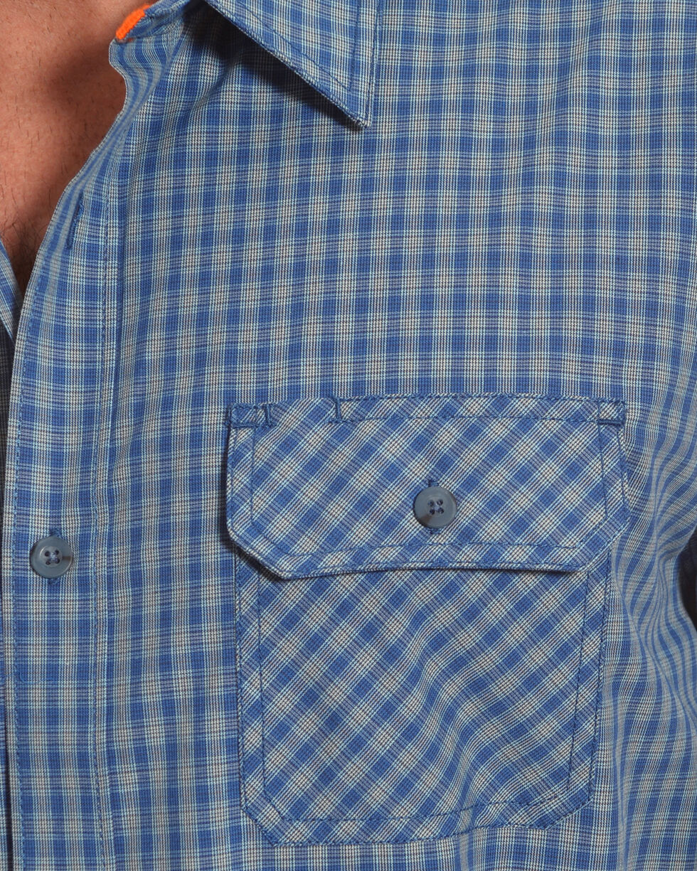 American Worker Men's Biskmark Plaid Short Sleeve Button Down Shirt, Blue, hi-res