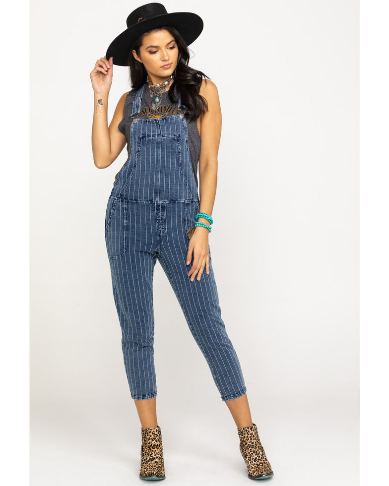 Z Supply Women's Blue The Stripe Knit Denim Overalls, Blue, hi-res