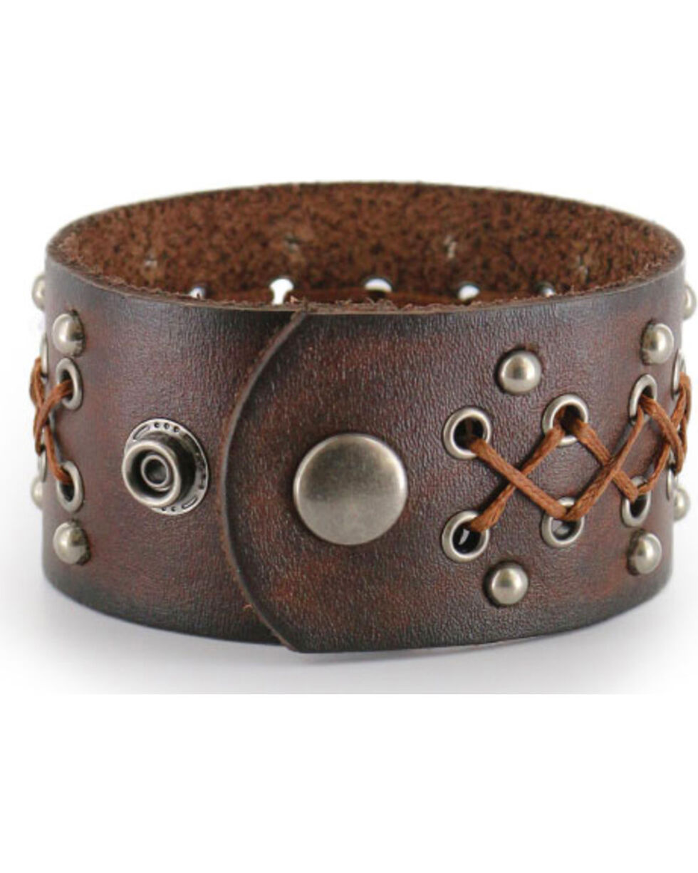 Moonshine Spirit Men's Wide Leather Cuff, Brown, hi-res