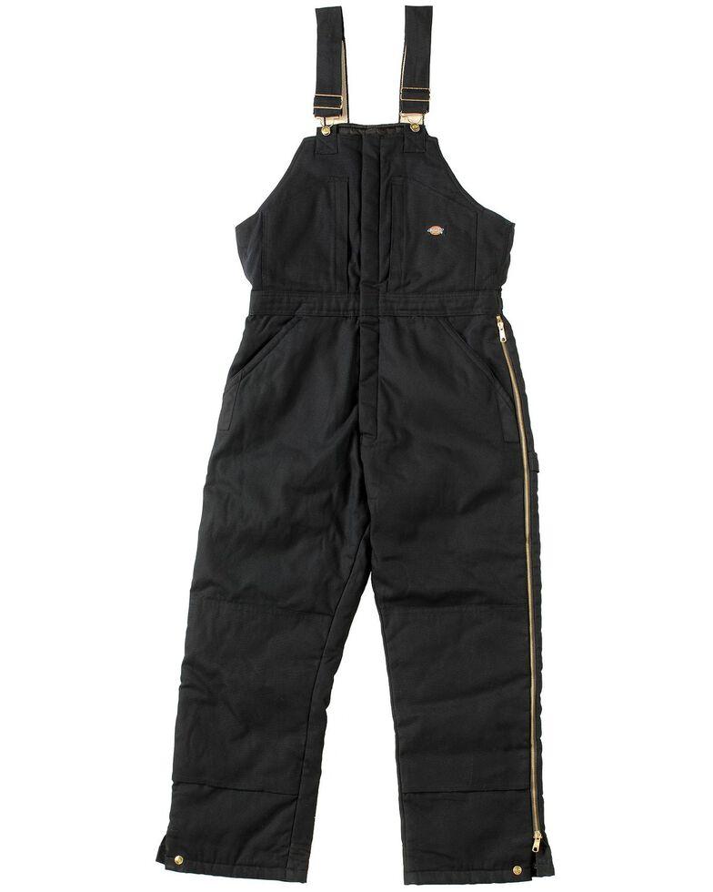 Dickies Men's Duck Insulated Bib Overalls, Black, hi-res