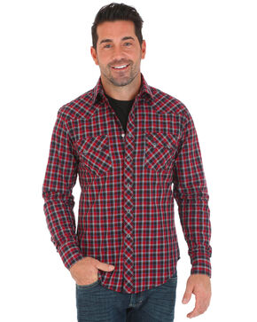 Wrangler Retro Men's Small Plaid Long Sleeve Western Shirt, Black/red, hi-res