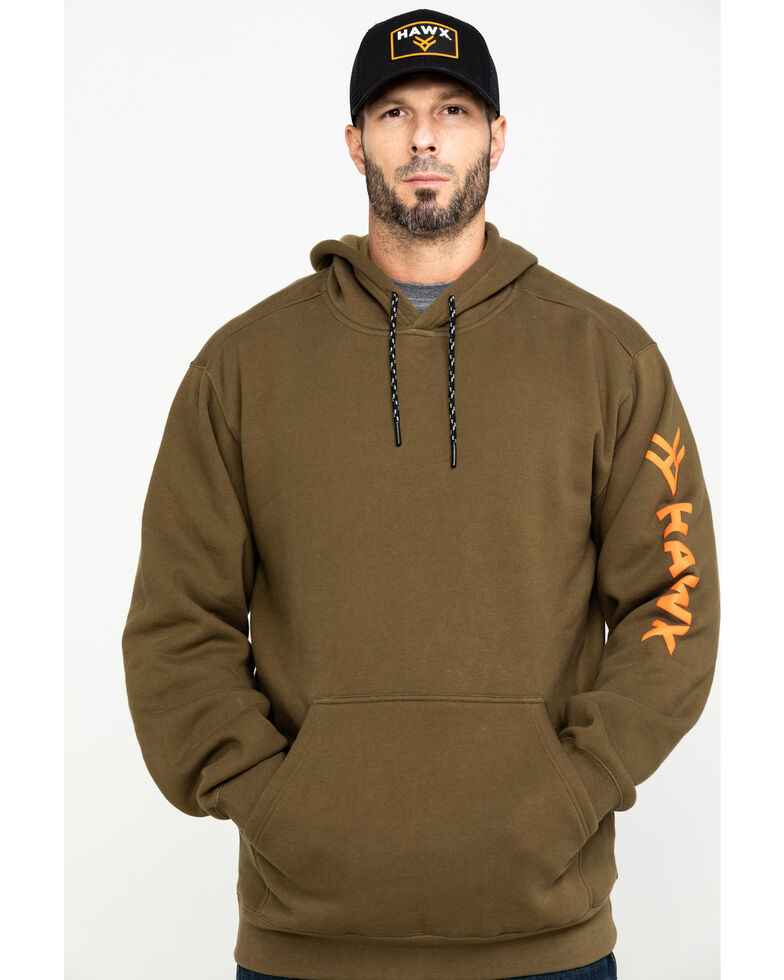 Hawx Men's Olive Logo Sleeve Performance Fleece Hooded Work Sweatshirt  , Olive, hi-res
