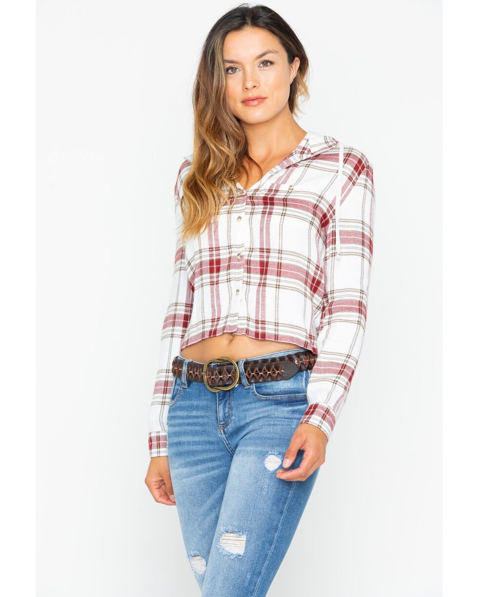 White Crow Women's Plaid Cropped Hoodie , Ivory, hi-res