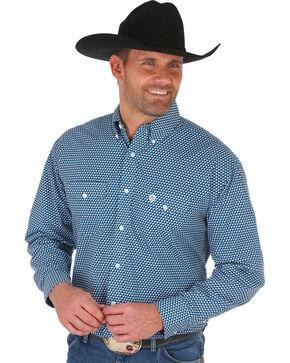 George Strait by Wrangler Men's Teal Geo Print Long Sleeve Western Shirt , Teal, hi-res