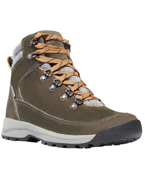Danner Women's Brown Adrika Hiker Wool Waterproof Boots - Round Toe  , Olive, hi-res