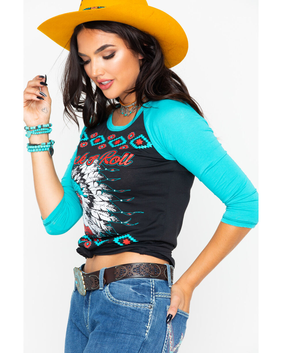 Rock & Roll Cowgirl Women's Headdress Graphic 3/4 Sleeve Shirt , Black, hi-res