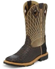 Justin Men's Derrickman Croc Print Western Work Boots - Soft Toe, Cognac, hi-res
