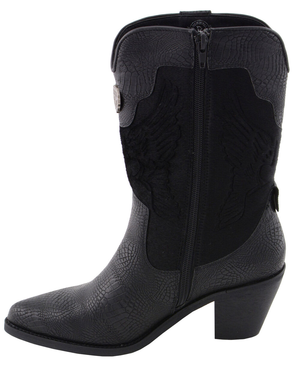 Milwaukee Leather Women's Snake Print Western Boots - Pointed Toe, Black, hi-res