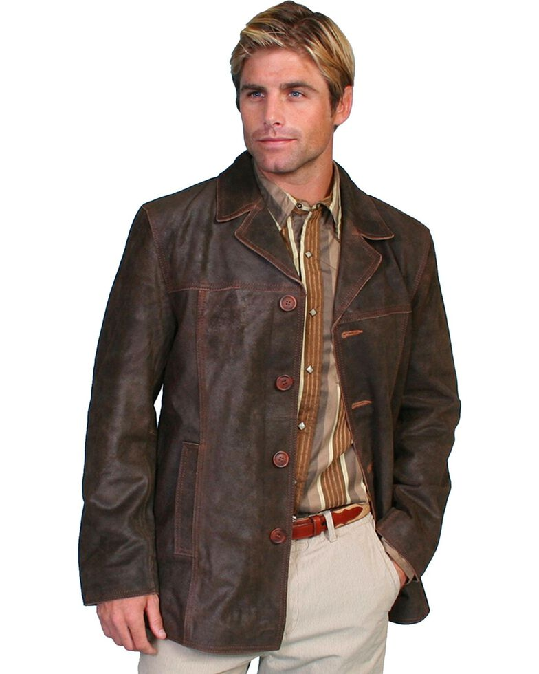 Scully Calf Suede Leather Car Coat, Brown, hi-res