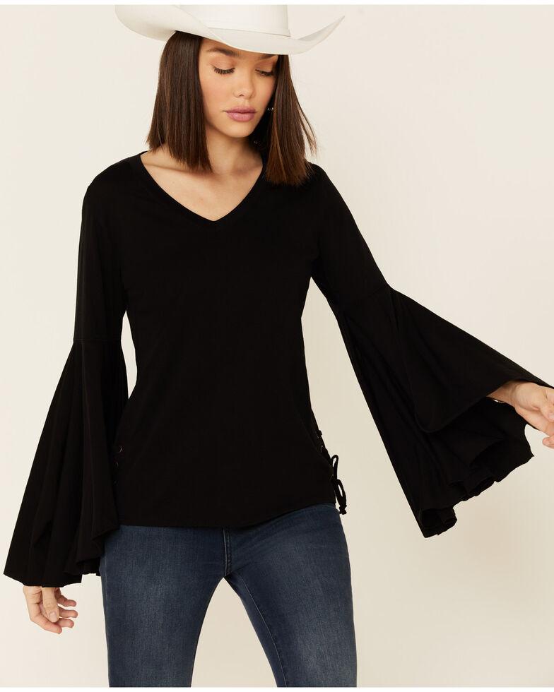 Rock & Roll Denim Women's Black Lace Up Long Sleeve Top , Black, hi-res