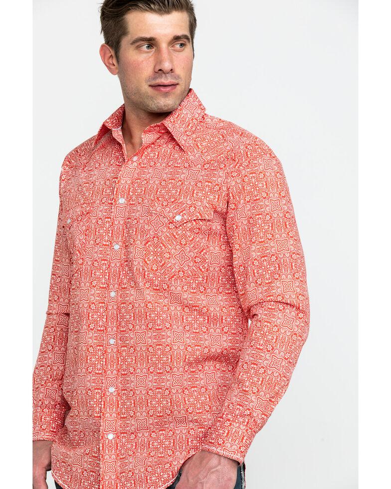 Rough Stock by Panhandle Men's Mirada Vintage Print Long Sleeve Western Shirt , Dark Orange, hi-res