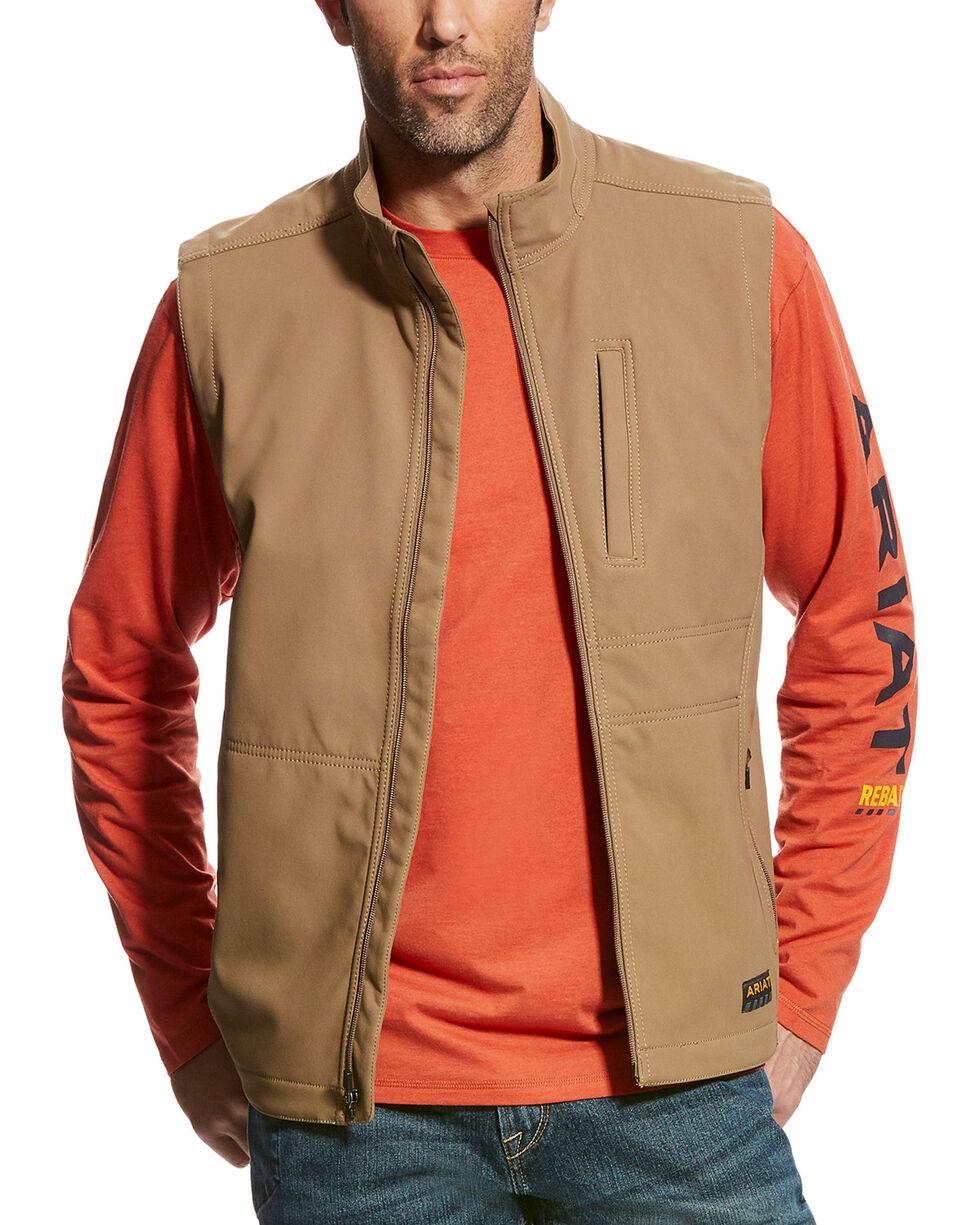 Ariat Men's Beige Rebar Canvas Softshell Field Vest , Beige/khaki, hi-res