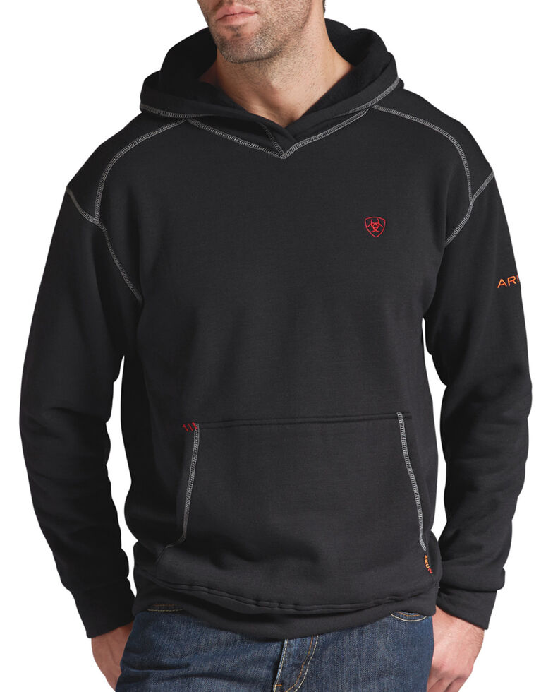 Ariat Men's Flame-Resistant Tek Hooded Work Sweatshirt, Black, hi-res