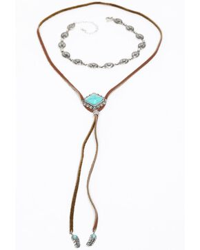 Shyanne Women's Emma Rae Turquoise Bolo Metal Choker Set, Brown, hi-res