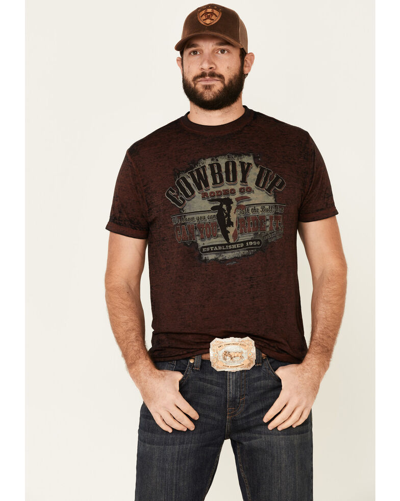 Cowboy Up Men's Red Take The Bull Can You Ride It Graphic T-Shirt , Red, hi-res