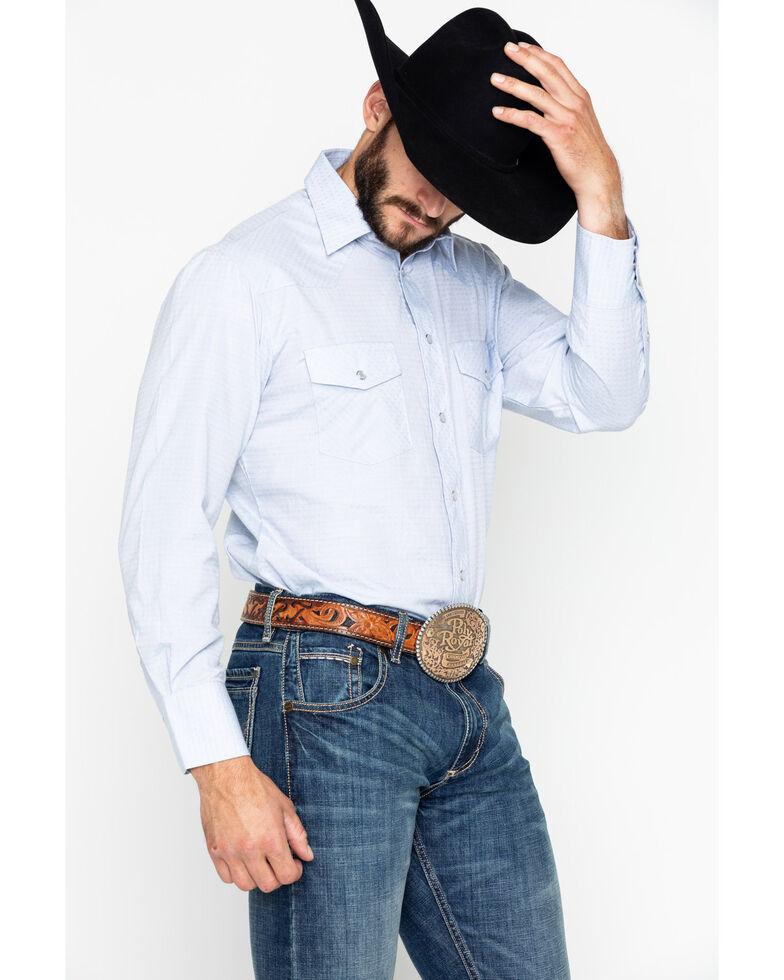 Roper Men's Tone On Tone Geo Print Long Sleeve Western Shirt , Blue, hi-res
