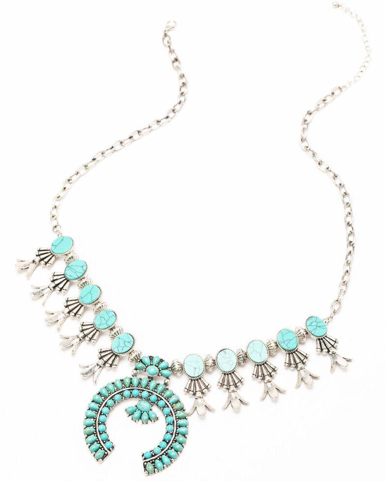 Shyanne Women's Matrix Turquoise Squash Blossom Statement Necklace, Turquoise, hi-res