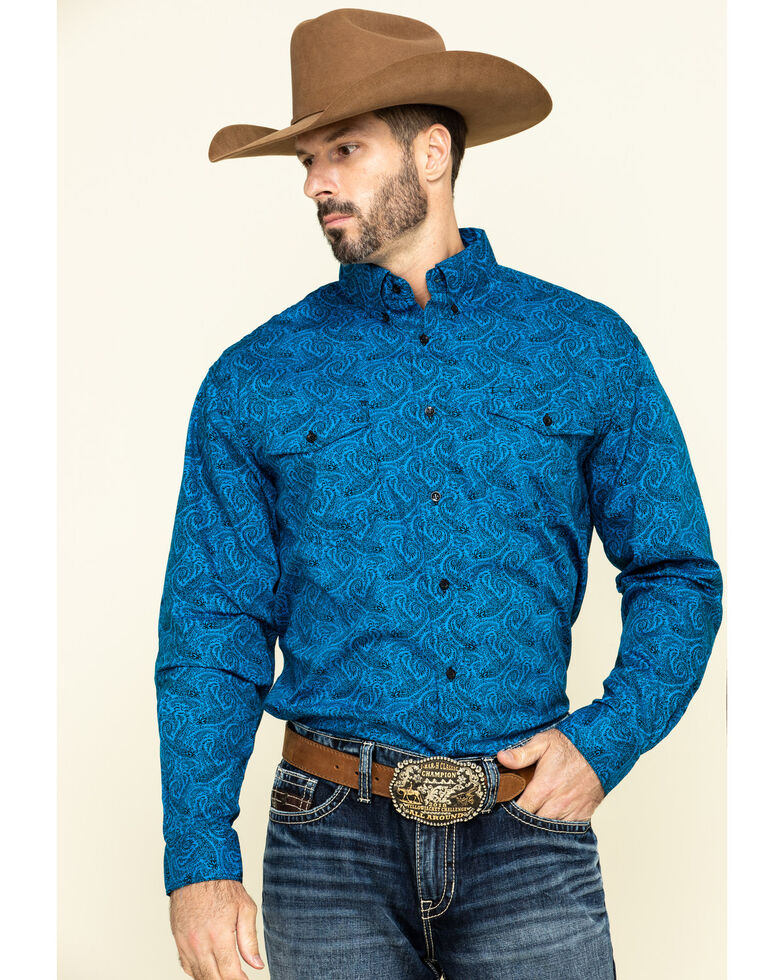 Roper Men's Blue Amarillo Gentlemans Paisley Print Long Sleeve Western Shirt , Blue, hi-res