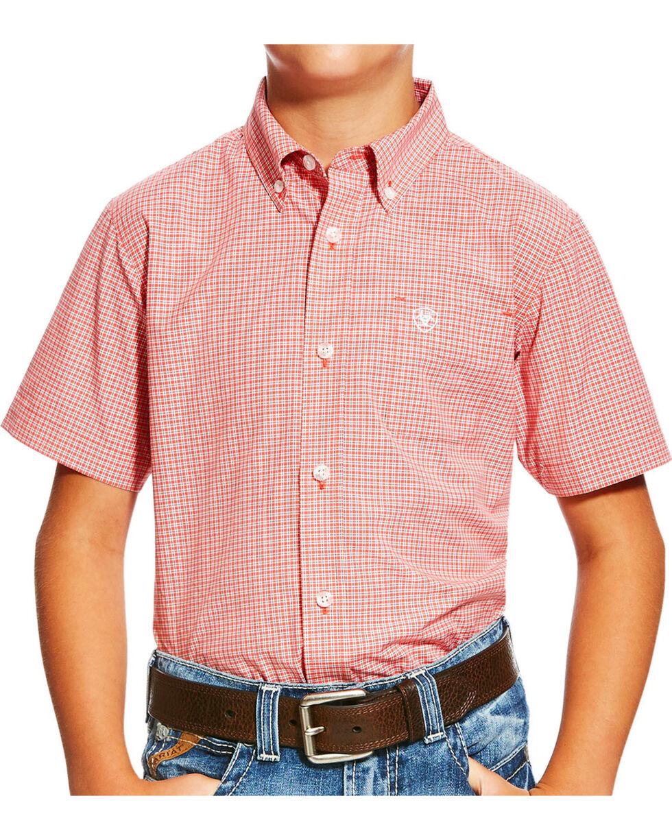 Ariat Boys' Orange Newark Print Western Shirt , , hi-res