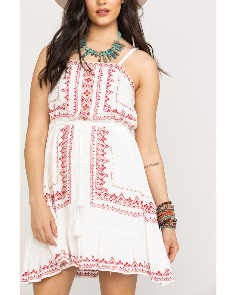 Miss Me Women's Aztec Embroidered Sundress , White, hi-res