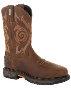 Georgia Boot Men's Carbo-Tec LT Waterproof Western Work Boots - Steel Toe, Brown, hi-res