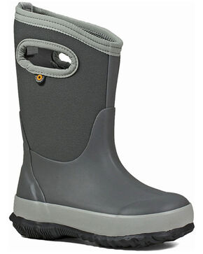 Bogs Girls' Classic Matte Waterproof Boots - Round Toe, Light Grey, hi-res