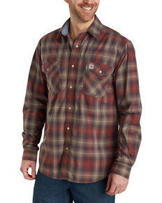 Carhartt Men's Rugged Flex Bozeman Plaid Long Sleeve Work Shirt - Big & Tall , Dark Brown, hi-res