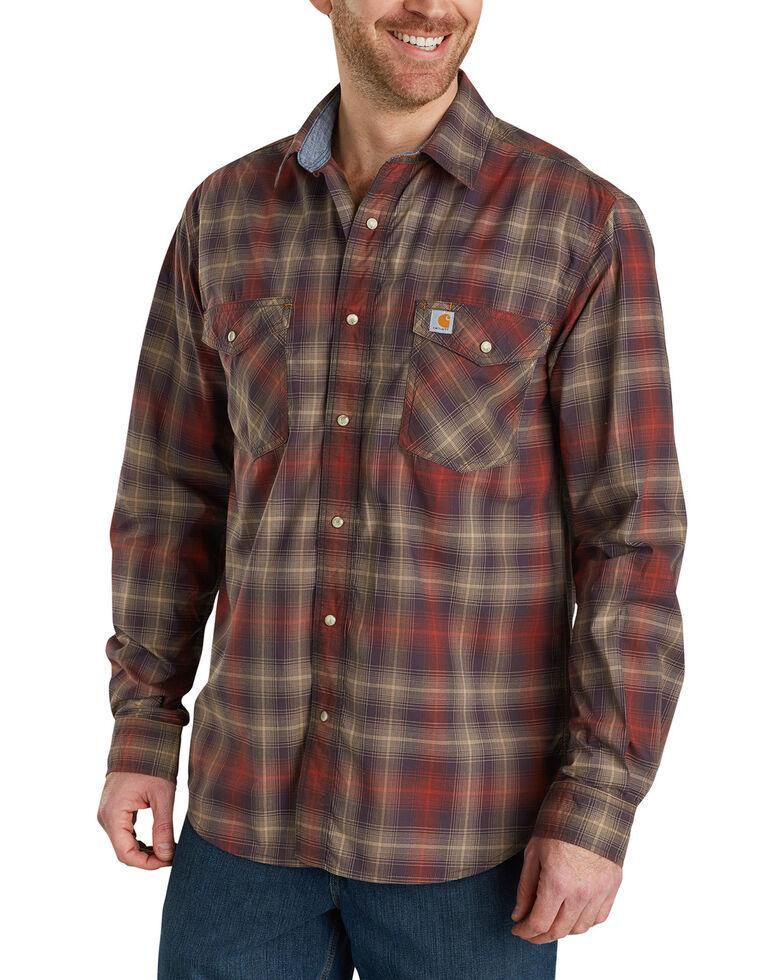 Carhartt Men's Rugged Flex Bozeman Plaid Long Sleeve Work Shirt - Big & Tall , Dark Brown, hi-res