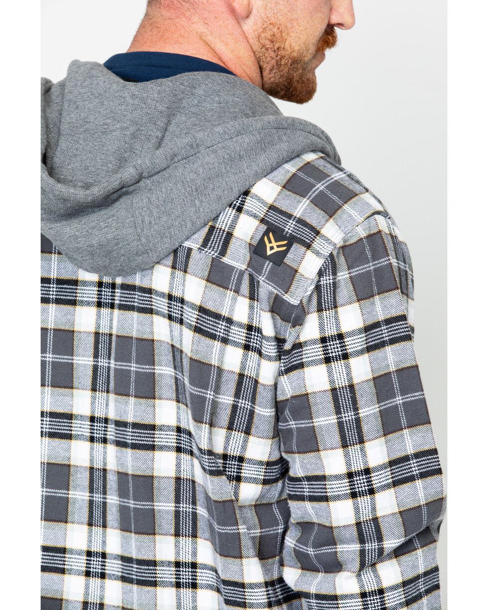 Hawx® Men's Plaid Long Sleeve Hooded Work Flannel Shirt , Grey, hi-res