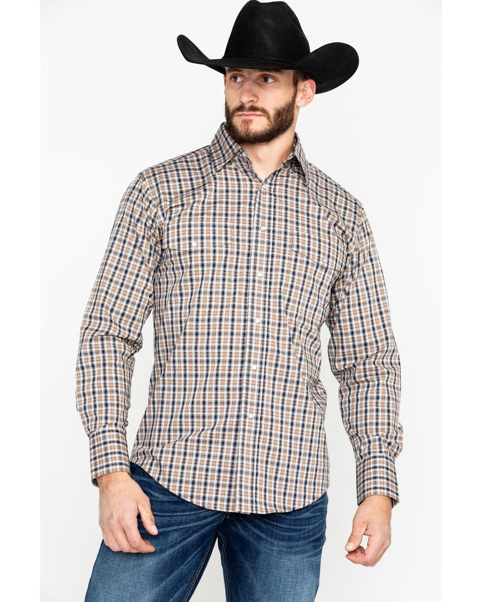 Wrangler Men's Small Plaid Beige Long Sleeve Western Shirt, Beige/khaki, hi-res
