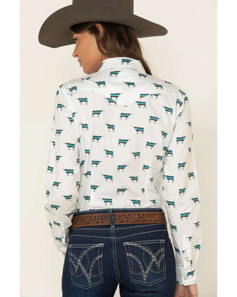Rough Stock by Pnahandle Women's El Toro Vintage Print Long Sleeve Western Shirt, White, hi-res