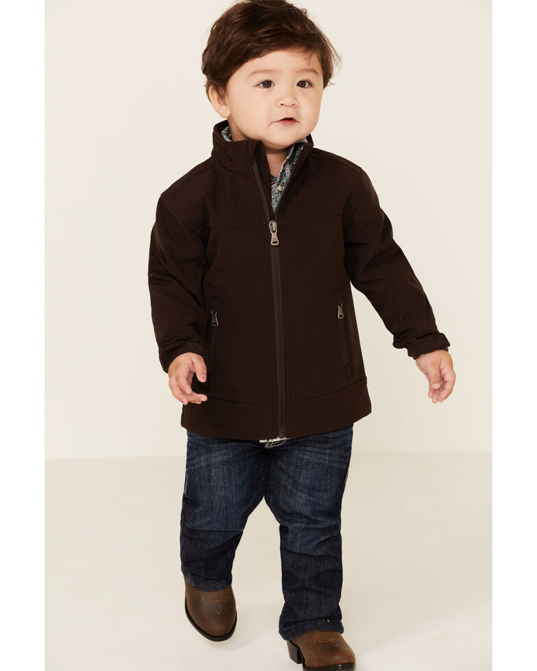 Cody James Toddler Boys' Brown Steamboat Softshell Bonded Zip Front Jacket, Dark Brown, hi-res
