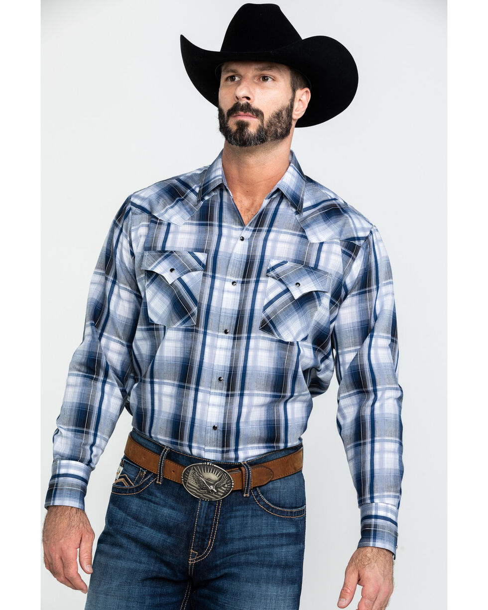 Ely Cattleman Men's Blue Medium Plaid Long Sleeve Western Shirt , Blue, hi-res
