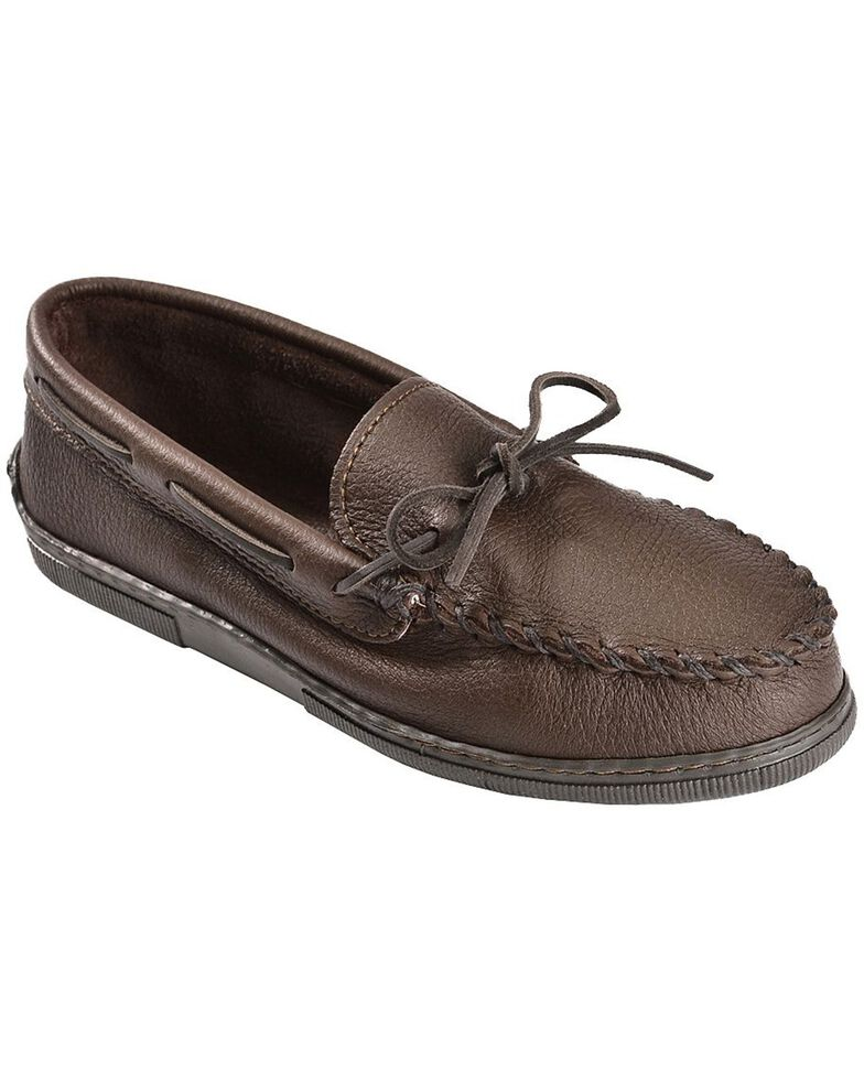 Minnetonka Men's Moosehide Classic Moccasins, Chocolate, hi-res