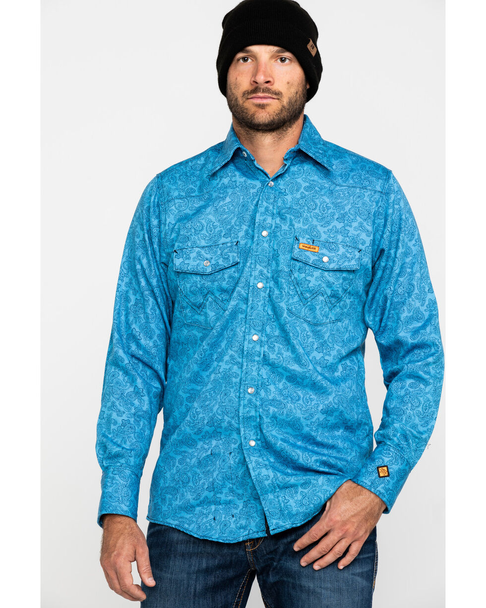 Wrangler Men's Blue FR Paisley Lightweight Work Shirt - Big, Blue, hi-res