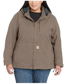 Carhartt Women's Grey Full Swing Caldwell Duck Jacket - Plus, Charcoal, hi-res