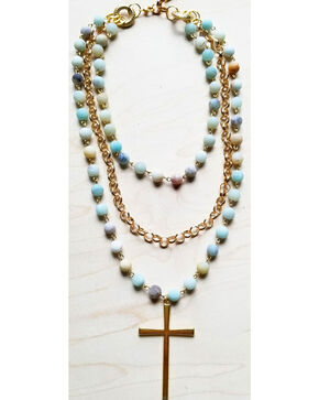 Jewelry Junkie Women's Amazonite Triple Strand Necklace with Gold Cross, Aqua, hi-res