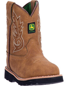 3b7471bf6a00 John Deere Toddler Boys Tan Rubber Outsole Western Boots - Round Toe