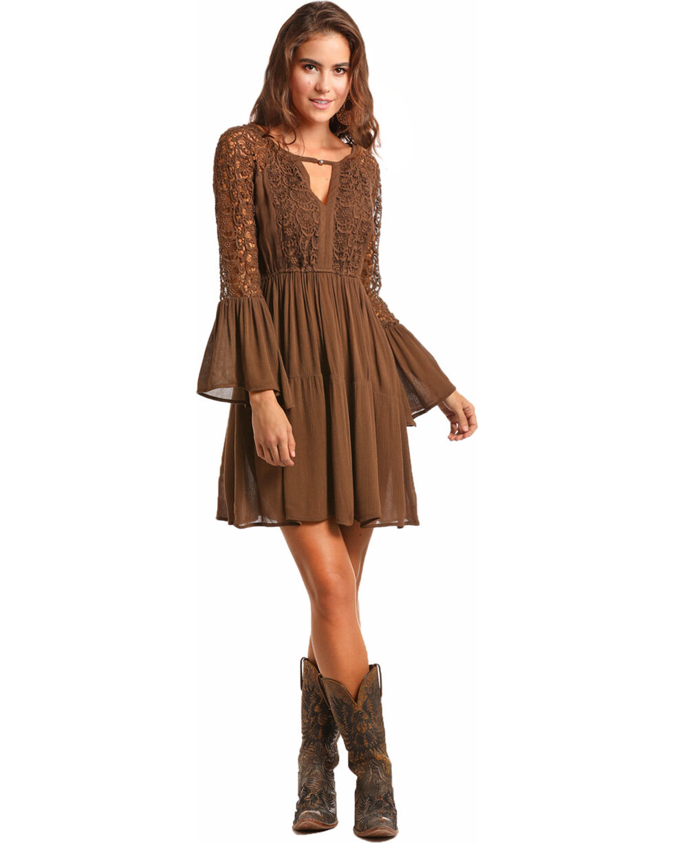 Rock & Roll Cowgirl Women's 2-Tiered Lace Overlay Dress , Brown, hi-res