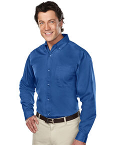 Tri-Mountain Men's Royal Blue 4X Professional Twill Long Sleeve Shirt - Big, Royal Blue, hi-res