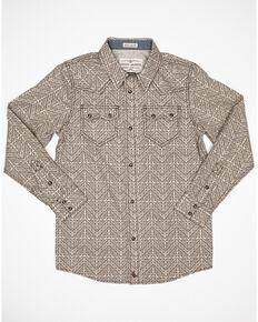 Cody James Boys' Chevron Floral Geo Print Long Sleeve Western Shirt , Cream, hi-res