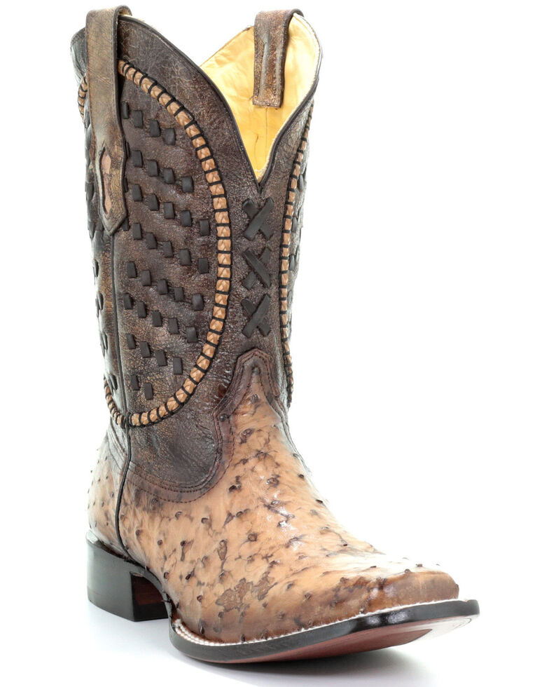 Corral Men's Ostrich Inlay Western Boots - Square Toe, Brown, hi-res