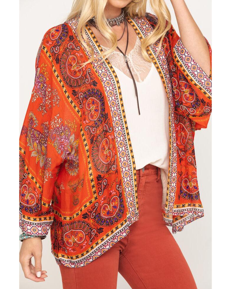 Aratta Women's Red Beaded Long Sleeve Kimono, Red, hi-res