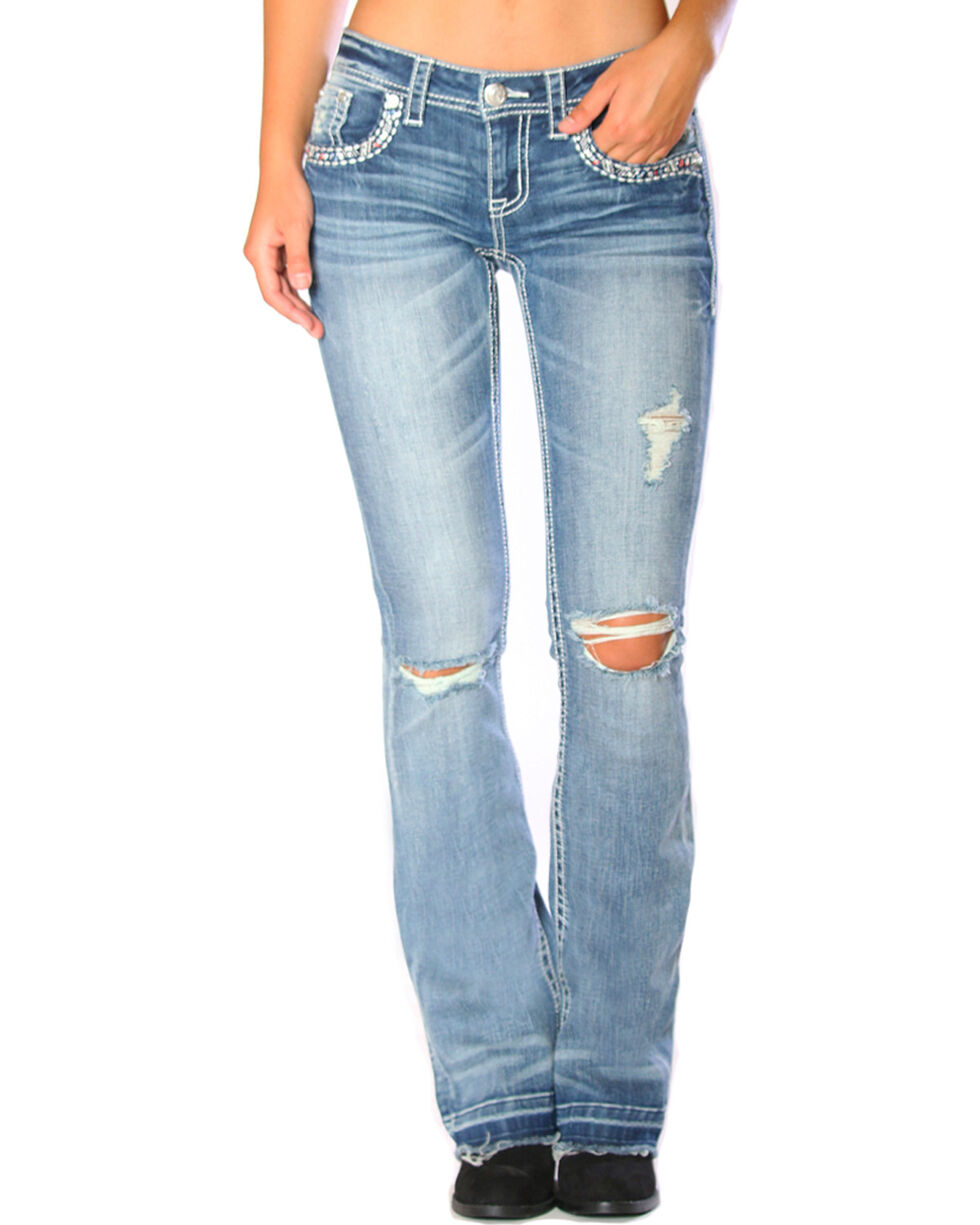 Grace in LA Women's Released Hem Jeans - Boot Cut , Indigo, hi-res