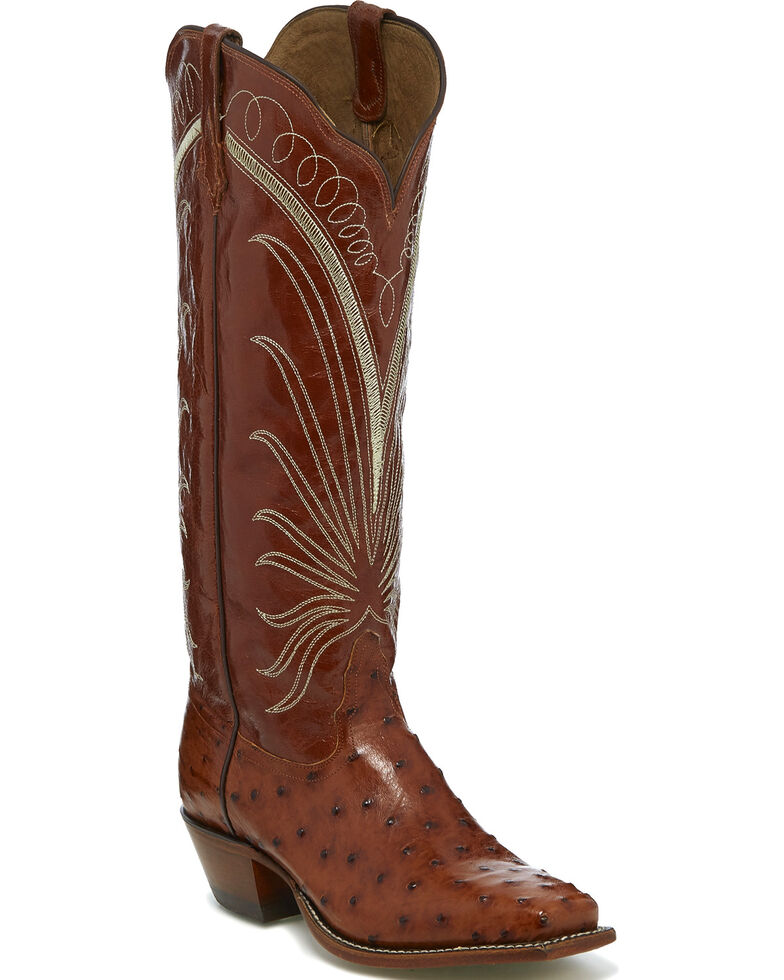 Tony Lama Women S Brown Full Quill Ostrich Cowgirl Boots