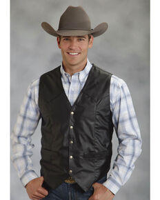 Roper Men's Faux Leather Western Vest - Big & Tall, Black, hi-res