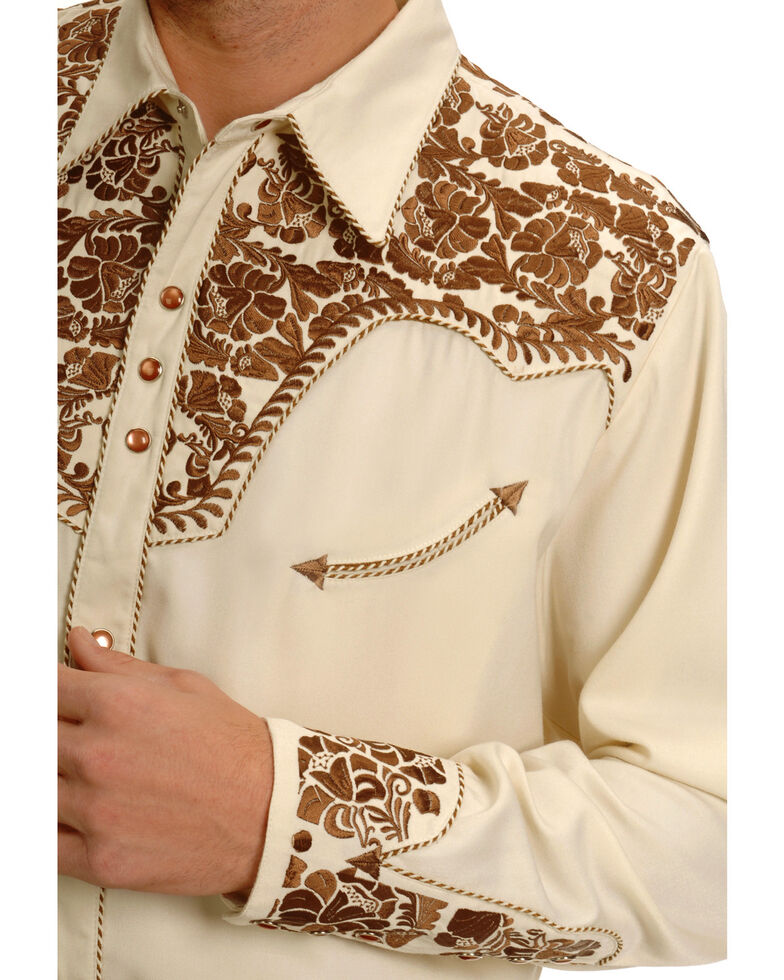 Scully Men's Tan Embroidered Gunfighter Long Sleeve Western Shirt , Natural, hi-res