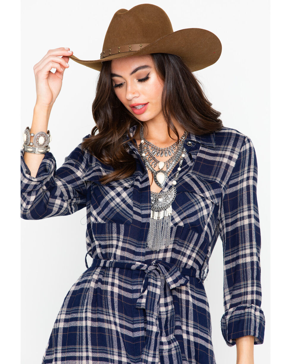 Miss Me Women's Plaid Button Down Long Sleeve Shirt Dress , Navy, hi-res