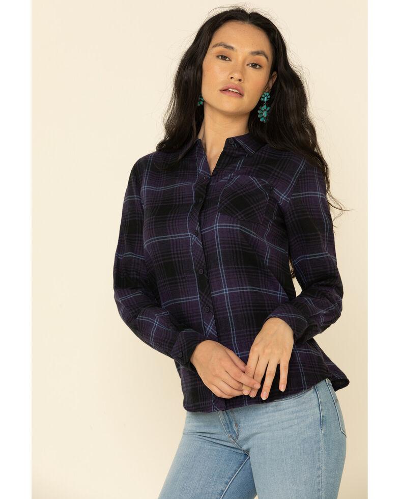 North River Women's Biking Plaid Long Sleeve Western Flannel Shirt , Purple, hi-res